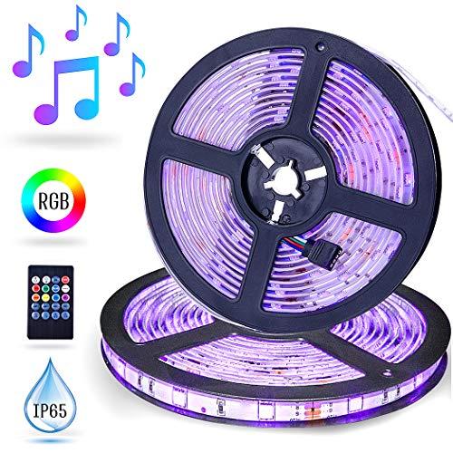 Striscia LED Musica,10M ESEYE LED TV Retroilluminazione RGB Strisce 5050 Auto-adesiva Suoni Attivata Strip Light Flessibile/Divisibile/Collegabile Nastri 12v Led Luci Colorate Decorative Esterno