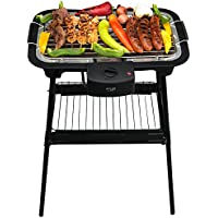 2 in 1 Elektro Grill | Standgrill | Tischgrill | Partygrill | elektrischer BBQ Grill | Cool Touch Griffe | Tisch Grill elektrisch | 2.000 Watt (Elektro Standgrill Schwarz)