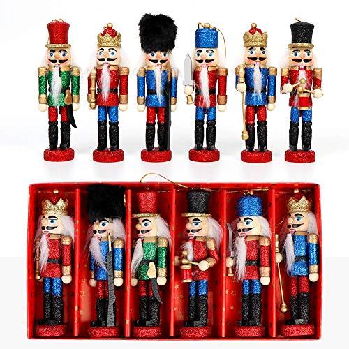 OurWarm 6 Stück Nussknacker Weihnachtsschmuck Holz Nussknacker Soldaten Set Weihnachten Nussknacker Ornamente für Weihnachtsbaum Figuren Marionette Spielzeug Geschenke, Home Party Decor