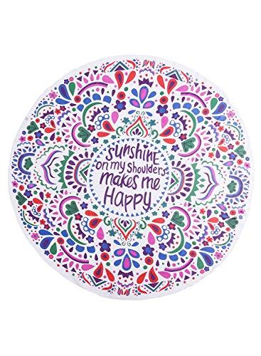 Futurino Hippie Circulaire Tapisserie Fleur colorée Imprimé Plage Serviette Yoga Mat Bohème Nappe purple