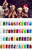 48 colori Nails Festival Glitter viso corpo decorazione dei capelli, 3D Nail Art Chunky Glitter in polvere, scintillii, strass, paillettes Nail Salon Attrezzature per Natale, Halloween fai da te disegni sirena unicorno disegni