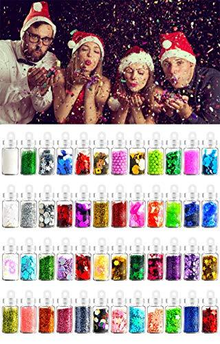 12 Farben Nails Festival Glitter Gesicht Körper Haar Dekoration, 3D Nail Art Chunky Glitter Pulver, Sparkles, Strass, Pailletten Nagelstudios Ausrüstung für Weihnachten, Halloween DIY Handwerk Meerjungfrau Einhorn Designs