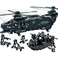WOMA Police Swat Team Military Helicopter and Boat Model Building Sets Lego Compatible Bricks Construction Toys with Storage Box 1351pcs
