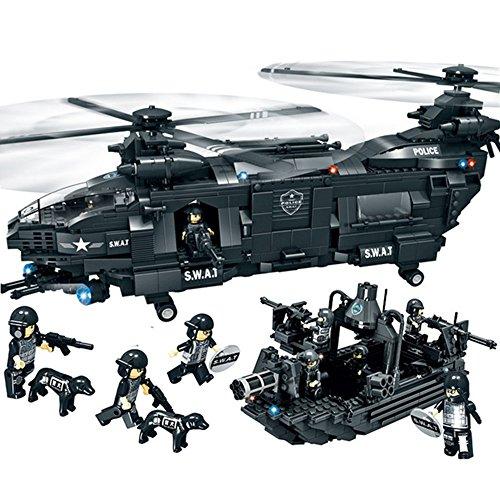 Woma - set modellino da costruire, elicottero e barca militare della squadra speciale di polizia swat, giocattoli con mattoncini per costruzioni compatibili lego, con scatola, 1351 pezzi