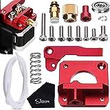 SIQUK MK8 Extruder Upgrade Ersatz, Aluminium Drive Feed 3D Drucker Extruder Kit für Creality CR-10, CR-10S, CR-10 S4, CR-10 S5, RepRap Prusa i3, 1,75 mm (Bonus: 1 Meter PTFE Teflon Tube und 1 Stück Putztuch)