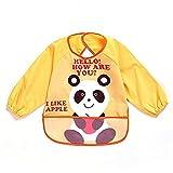 oral-q Unisex Kinder Craft Malerei Schürze Baby Lätzchen, wasserfest mit Ärmeln und Tasche, 6–36Monate, A gelb Panda, Set 1