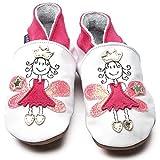 Zapatos Inch Blue de cuero blando blanco y rosa con princesa de cuento, 18-24 meses
