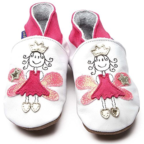 Inch Blue - Chaussures de cuir souple - Princesse en blanc et rose 12-18m Blanc/Rose