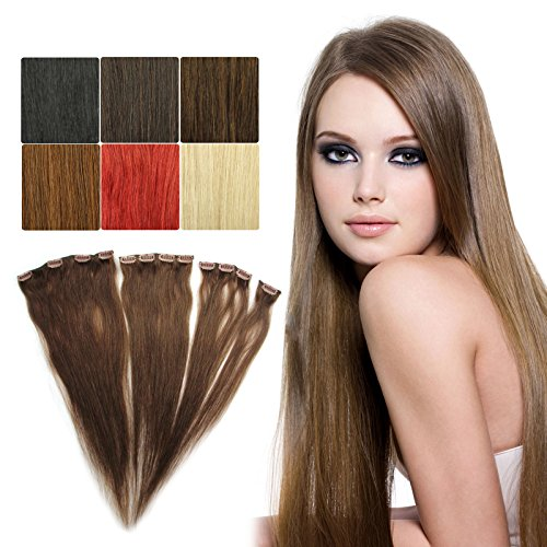 OUBO 100% Remy Echthaar Clip in Hair Extensions Echthaar 1 Teilige Haarverlängerung Haarverdichtung Haarergänzung 55cm 5g/11g/17g/20g glatt - 4# Schokobraun 1 Set 17g