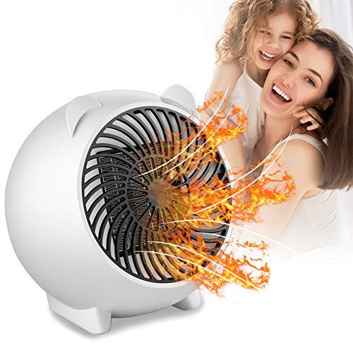 Mini Calefactor, Cerámico Caliente Ventilador, Calefactor de aire caliente, Calefactor bajo Consumo, Calentador de Espacio Eléctrico Portátil para Cuarto/Oficina,Protección contra sobrecalentamiento.