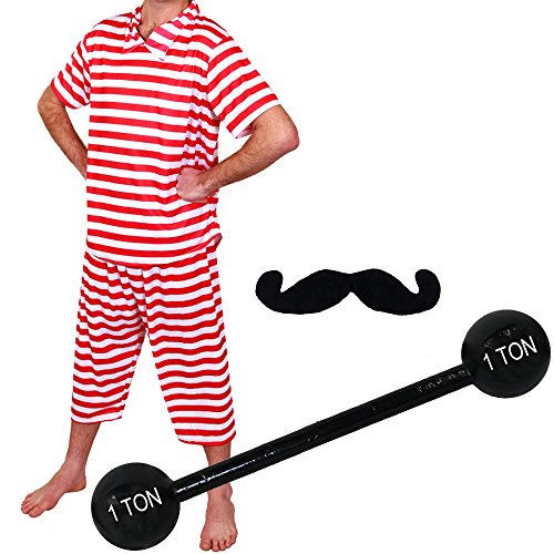 MENS STRONGMAN COSTUME CIRCUS STRONG MAN FANCY DRESS 1920'S 40'S STRONGMEN WEIGHT LIFTER STRIPED TOP + STRIPED TROUSERS + MOUSTACHE + INFLATABLE DUMBELL