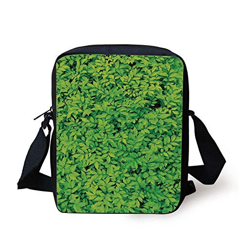 Green,Fresh Garden Forest Little Leaves Lush Growth Organic Nature Outdoors Woods Plant,Lime Green Print Kids Crossbody Messenger Bag Purse -