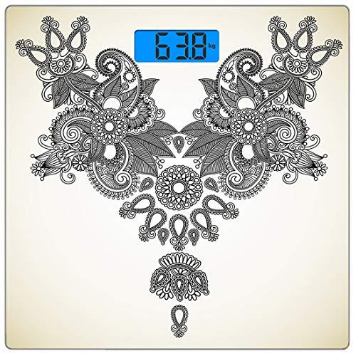 Digitale Präzisionswaage für Körpergewichte Henna Ultra Slim Gehärtetes Glas Personenwaage Genaue Gewichtsmessungen, fernöstliche Vintage-Mode Paisley-Ziergegenstände Abstrakte Kunst mit orientalische Paisley Mode