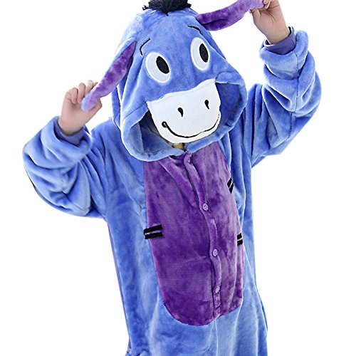 lifenewbaby Kinder Strampelanzug Kids Cartoon Animal Schlafanzüge animie Cosplay Kostüm Hoodies jumpsuits-donkey Gr. 2-3 Jahre|H 90 cm- 108 cm, Esel (90's Cartoon Kostüme)