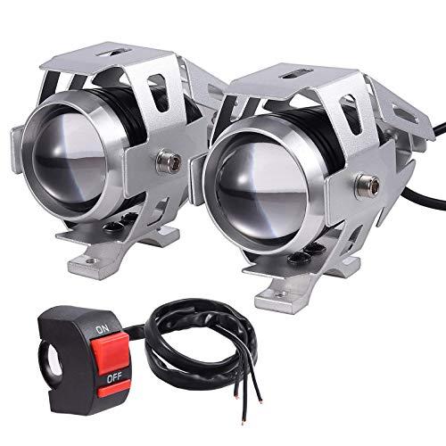 PROZOR 2PZ Luci Anteriori per Moto con Interruttore / 15W 3000LM CREE U5 LED Spotlight Faro per Motocicletta / Lampada Antinebbia con Interruttore Universale 3 Pulsante - Argento