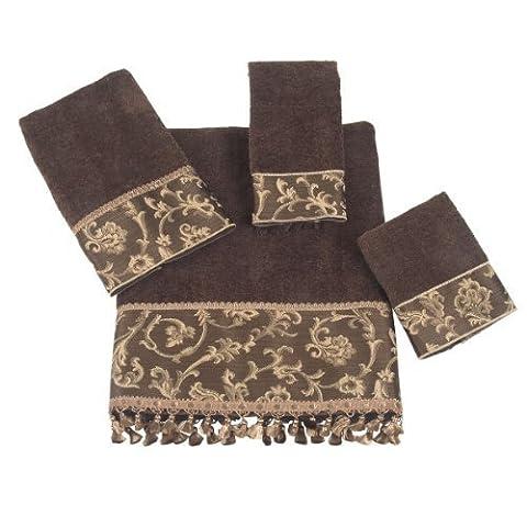 Avanti Damask Fringe 4-Piece Towel Set, Mocha by Avanti Linens