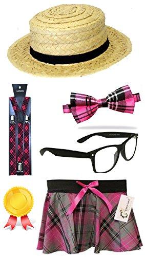 New Adult Ladies Pink Tartan School Girl Set instant Kit Straw Boater Hat Bow Tie Suspender Braces Glasses & Skirt Fancy Dress Costume Accessories (Mega_Jumble) (Large/X-Large)