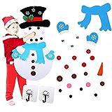 kungfu Mall Pupazzo di Neve in Feltro Pupazzo di Neve in Feltro Fai-da-Te Pupazzo di Neve di Natale Gioco Set con 31 Pezzi di Ornamenti Staccabili e 2 Ganci