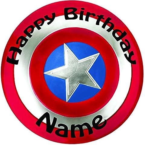 Personalisierte Captain America Hitzeschutz Cake Topper, einen vorgeschnittenen Rund 20,3cm