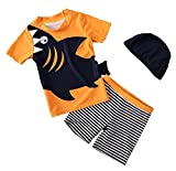 Tyraptor Baby/Kleinkind Jungen Bademode 3er Set Kurzarm T-Shirt + Badehose + Badekappe Schwimmanzug Badeanzug Gelb