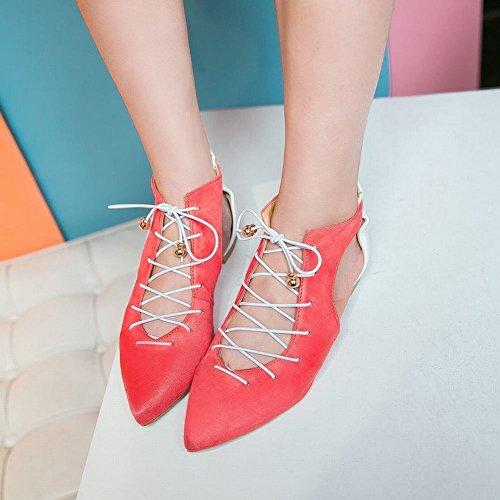 Mee Shoes Damen Flach Schnürung Knöchelriemchen Sandalen Wassermelone rot