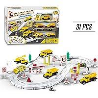 Circuito Camión de Juguete de Ferrocarril de Pista de Coches Eléctrico Conjunto para Niños 3 4 5 6 Años (31 PCS)