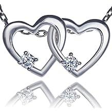 Meranu donna collana con pendente – Forma doppio-cuore e zirconie - 42 (Nero Pendente Di Vetro Di Murano)