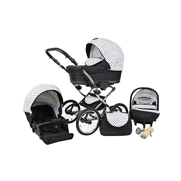 Travel System Retro Stroller Pram 2in1 3in1 Set Isofix Nostalgica by SaintBaby Navy Blue Star 2in1 Without Baby seat SaintBaby 3in1 or 2in1 Selectable. At 3in1 you will also receive the car seat (baby seat). Of course you get the baby tub (classic pram) as well as the buggy attachment (sports seat) no matter if 2in1 or 3in1. The car naturally complies with the EU safety standard EN1888. During production and before shipment, each wagon is carefully inspected so that you can be sure you have one of the best wagons. Saintbaby stands for all-in-one carefree packages, so you will also receive a diaper bag in the same colour as the car as well as rain and insect protection free of charge. With all the colours of this pram you will find the pram of your dreams. 2
