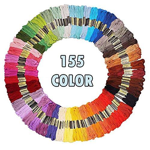 Stickgarn Embroidery Floss Weicher Baumwolle Perfekt Regenbogenfarben Fäden für Freundschaftsbänder Stickerei Kreuzstich (155 Stück)