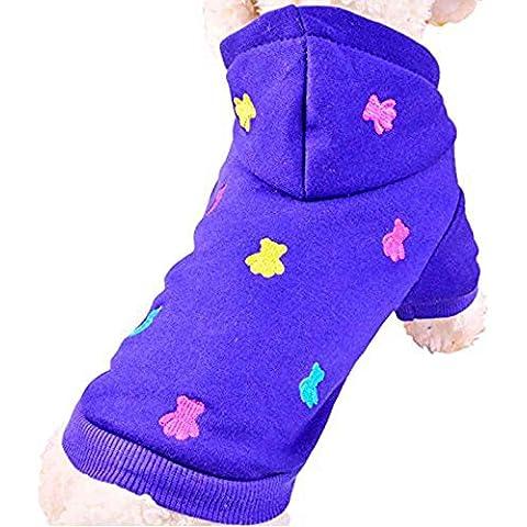 SAMGU Cappotto Giacca per Animale Domestico Cane Vestiti Maglione con cappuccio Imbottito Abbigliamento color blu size X-Small