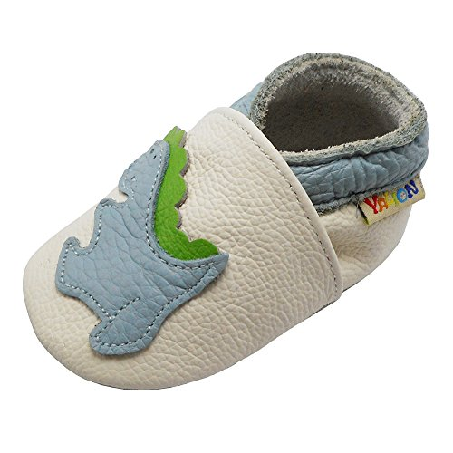 Leder Babyschuhe Krabbelschuhe Lauflernschuhe Hausschuhe mit Dinosaurier Weiß, 0-6 Monate ()