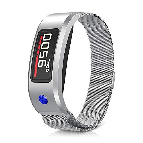 NotoCity für Garmin Vivofit 2 Armband, Ersatz Edelstahl Magnetverschluss Milanese Kompatibel für Garmin Vivofit 2 (L, Silber)