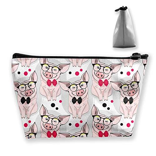 Schweine mit Brille und Bögen Portable Travel Cosmetic Pouch Aufbewahrungstasche Make-up