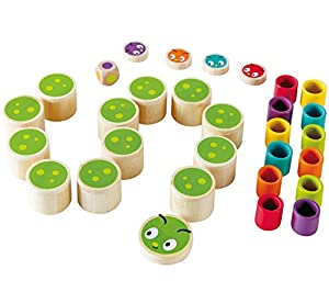 Hape-Create-A-Caterpillar Game (Multi-Colour) Juego Infantil Memoria Oruga, Multicolor (Barrutoys E5556)
