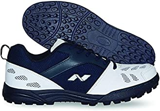 Nivia Carribean Cricket Shoes- Rubber Sole (White/Navy) (UK8 (US9))