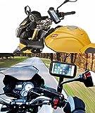 Handyhalterung motorrad Huawei P8 Lite usb Ladegerät Befestigung an einem Rückspiegel und Lenker neue fixierung der extremen Härte Anti-Fall-System motorrad handyhalterung mit USB Ladegerät Schwarz