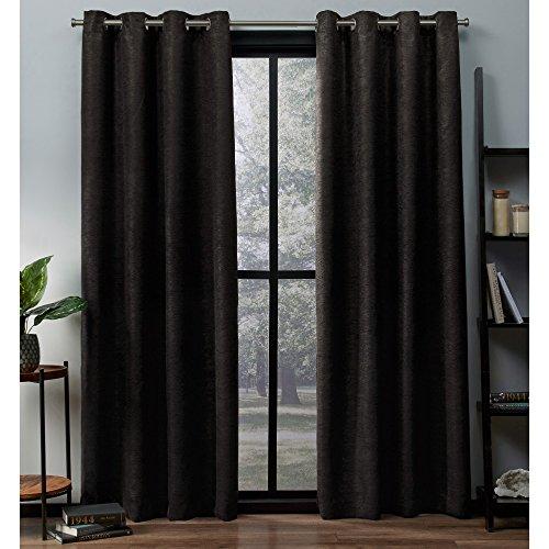 Exclusive Home Curtains Vorhänge aus Satinstoff mit Oxford-Textur, Thermisch, mit Ösenöffnungen Oben, für Fenster, abdunkelnd, Polyester, Espresso, 52x84 (84 Tülle Vorhänge Oben)