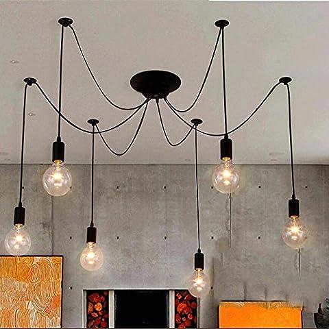 American Vintage rétro lustre multi Spider pendentif lumières Iron art DIY lampes pour salle de séjour restaurant chambre à coucher et bar , 6 lights , 1m