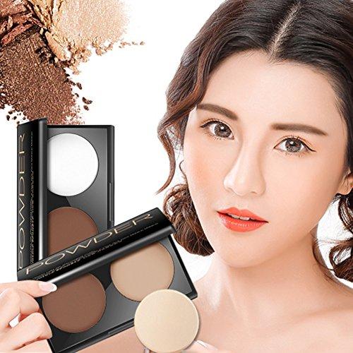 allbesta 2 couleurs Highlighter Palette Contour Visage Shading trimmen Maquillage Soin Contour Concealer poudre Poudre Arrangement de Powder nourrissante cosmétiques