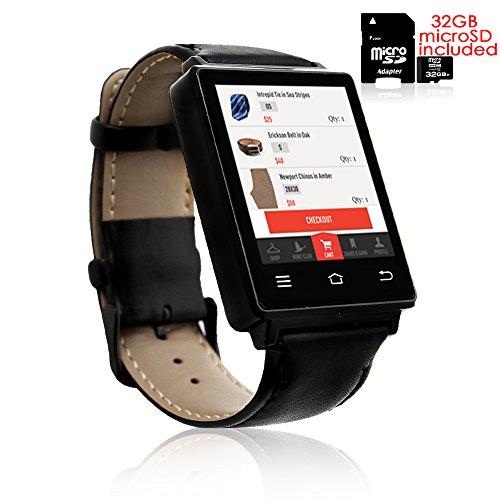 Indigi® Trendige 3G entsperrt Android 5.1Smartwatch + Phone + WiFi + GPS + Google Play + Herzfrequenz Sensor + 32GB Bundle Google Android Gps