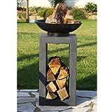 Design-Feuerschale mit Holzablage - 5