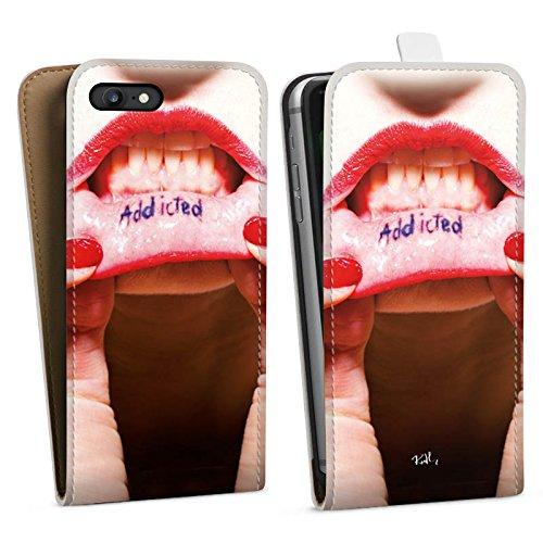 Apple iPhone X Silikon Hülle Case Schutzhülle Oliver Rath Lippen Frau Downflip Tasche weiß