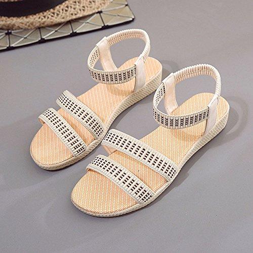 Longra Donne Bohemia Flats Sandal (EU Size:35, Beige)