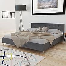 festnight cadres de lit lit en bois 200 x 160 cm avec revtement en tissu gris - Lit 160x200