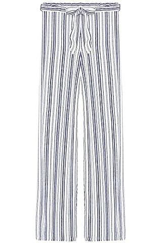 FIND Stripe Wide Leg Pantalon Femme, Bleu (Blue/white), 40 (Taille Fabricant: Medium)