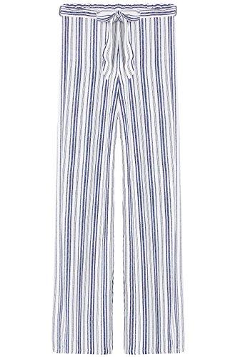 FIND Pantalone Palazzo a Righe Donna Blu (Blue/white)