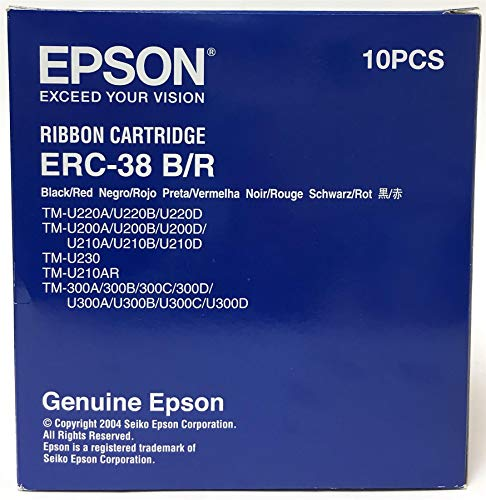 Box of 10 Genuine Epson ERC-38B Black Printer Ribbon Cartridges