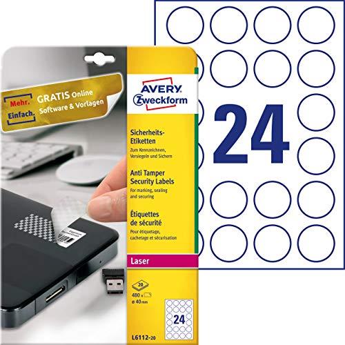 AVERY Zweckform L6112-20 Sicherheitsetiketten (Ø 40 mm auf DIN A4, stark selbstklebend, mit Schachbrett-Muster, bedruckbare und manipulationssichere Klebefolie, 480 Aufkleber auf 20 Blatt) weiß