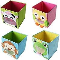 Preisvergleich für TE-Trend 4 Stück Textil Faltbox Spielbox Tiermotive Frosch AFFE Eule Kuh Aufbewahrung Truhe für Spielzeug faltbar 28 x 28 x 28 cm