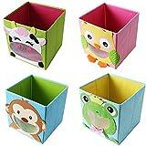 TE-Trend 4 Stück Textil Faltbox Spielbox Tiermotive Kuh Frosch Eule AFFE Aufbewahrung Truhe für Spielzeug faltbar 28 x 28 x 28 cm